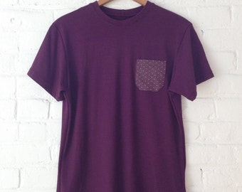 Purple Heathered T-Shirt with Contrast Polka Dot Pocket Detail // Small