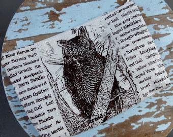 Owl Bird Hand Printed Zipper Pouch -  - Hand Screen Printed Fabric