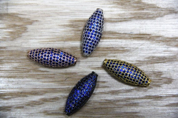 Sapphire Blue CZ Micro Pave 11x28mm Long Oval Beads