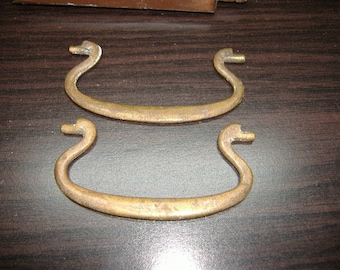 Salvaged Solid Brass Swan Head Bails from Drawer Pulls/Handles. NO BACKPLATES INCLUDED. Antique Hardware for Embellishing, Repurposing
