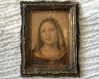 ANTIQUE MADONNA FRAMED / Old Virgin Mary Print Created by Percy G. Beer Antique Gilder and Frame Maker Sout Sea