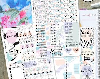 Pregnancy Tracker Planner Stickers, Pregnancy Sticker Kit - MulberryPOP A5 Vertical - Erin Condren Vertical - Various Planners