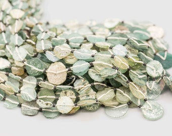"Roman Glass Disc Graduated 10-16mm 26 Beads on 17"" Strand SKU-ROMGL-3"