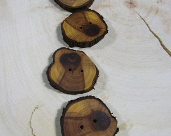 4 super cute wooden buttons- Sunburst Juniper, handmade buttons (2030)