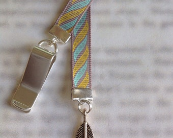 Feather Bookmark / Spiritual Bookmark - Attach clip to book cover then mark the page with the ribbon and charm. Never lose your bookmark!