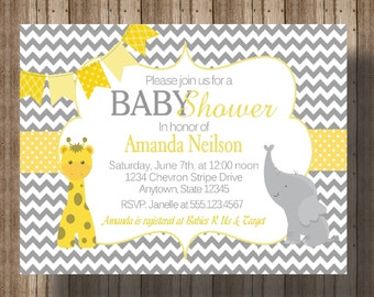 BABY SHOWER INVITATION Chevron Yellow and Gray Elephant and Giraffe | Gender Neutral Baby Shower Invitation | Jungle Animal Baby Shower Zoo