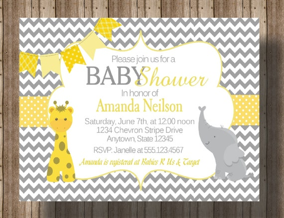 BABY SHOWER INVITATION Chevron Yellow and Gray Elephant and