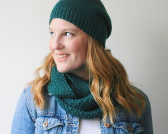 Slouchy knit hat, forest green merino wool beanie -- Abbotts Harbour slouch