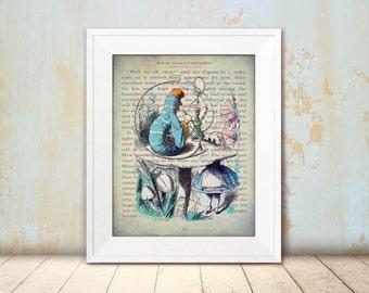 Advice from a Caterpillar - Alice's Adventures in Wonderland - Alice in Wonderland Wall Art - Vintage Style Decor - Steampunk