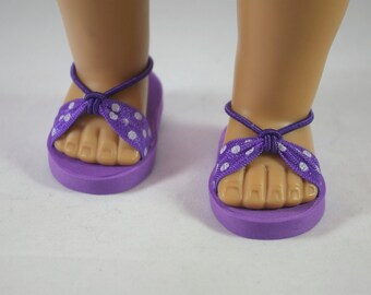 American Girl, 18 inch doll SANDALS SHOES Flipflops in Purple with White POLKA Dot and Ankle Strap