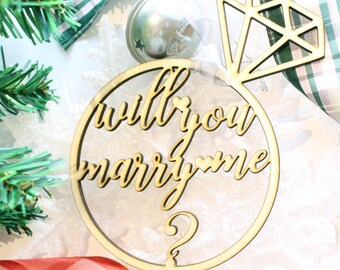 Christmas Proposal Ornament, WIll You Marry Me, Marry Me Ornament, Engagement Ornament, Wedding Proposal Idea, Engagement Ring Ornament