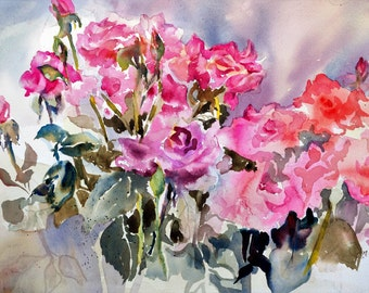 Watercolor Giclee Print Still Life Roses Garden Wall Art Free Shipping Pink Purple Painting