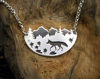 Mountain Fox Pendant - Silver Mountain Range Trees Landscape Necklace - Forest Woodland Gift for Nature Lovers