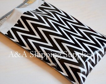 """100 and up 9""""x12"""" Poly Envelopes, Black and White Chevron,Quality Bags, Flat Poly Mailing Shipping Bags, UPS, FedEx, Usps Approved"""