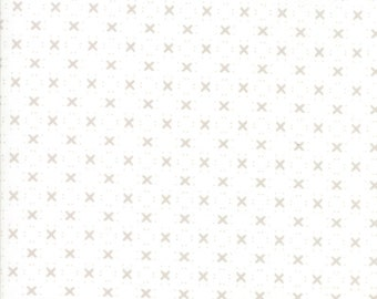 """Nest 108"""" Backing Fabric by Lella Boutiquee for Moda, #11143-11, Eggshell with grey X - IN STOCK"""