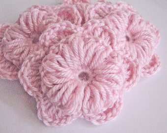 Crochet Flowers - Two Layer Baby Pink - Larger Flowers - 4 Total
