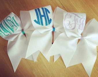 Glitter monogrammed cheer bow | Cheerleading bow | cheer gift | bow with initials monogram | gifts for cheerleader | hair bow | dance bow