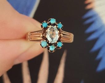 Antique Victorian Aquamarine and Turquoise Gold Ring