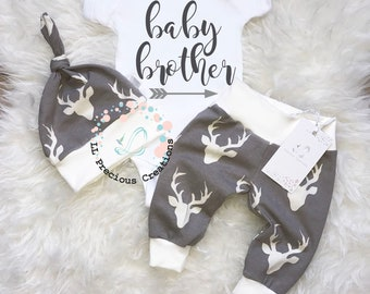 Baby Brother Outfit Coming Home Baby Boy Outfit  Newborn Boy Clothes  Baby Shower Gift Grey Deer Outfit Newborn Baby Boy