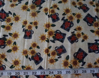 Sunflowers and Watering Cans Gardening Harvest Fabric - Almost 1 yard