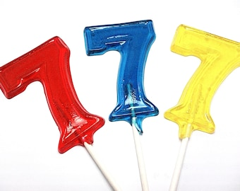 12 LARGE  NUMBER LOLLIPOPS -  Hard Candy - Numbers 1 through 9