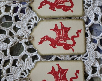 Dragon Tags - Handstamped Set of Seven from hand carved stamp