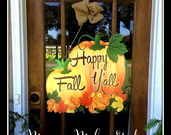 Large 24x24 Happy Fall Y'all Door Hanger | Yard Decoration | Burlap | Wedding Gift | Shower Gift | Bridal Shower | Fall Wedding | It's Fall
