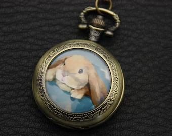 Rabbit  Necklace Pocket watch
