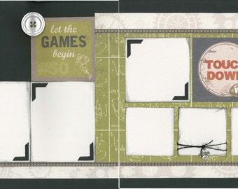 12x12 TOUCHDOWN scrapbook page kit, premade scrapbook, 12x12 premade scrapbook page, premade scrapbook pages, 12x12 scrapbook layout