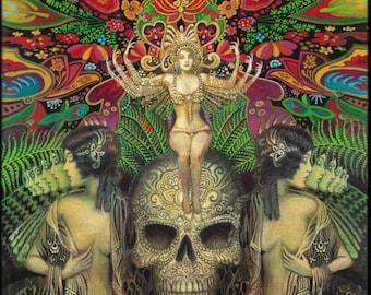 Goddess Art Mind Garden Original Acrylic Painting Bohemian Gypsy Surreal Psychedelic Art