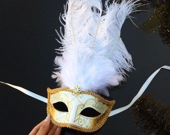 Feather Masquerade Mask, Masquerade Mask, White and Gold Masquerade Mask - Soft Feather Adornments