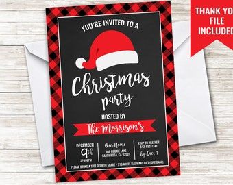 Christmas Party Invitation Invite 5x7 Digital Plaid Holiday Chalkboard Santa Dinner Drink Gift Exchange
