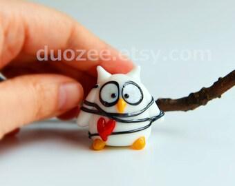 Fairy House Owl Figurine, Handmade Lampwork Glass Miniature Owl Tangled in Love, Miniature Owl, Owl Figurines, Owl Figures, Fairy House