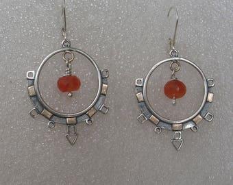 "2"" Ancient Modern Mixed Metal Hoop Earrings w Carnelian"