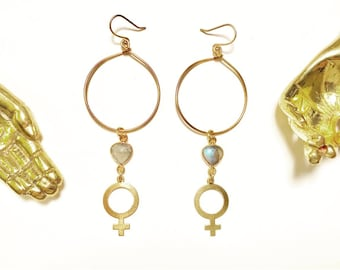 Goddess Bless Hoop Earrings with Venus Feminist Symbols and Labradorite