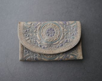 Little vintage brown and coloured embossed leather purse