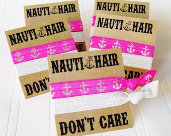 Hair Tie Card Nauti Bachelorette Nauti Birthday DIY Hair Tie Party Faver Card only no hair ties included
