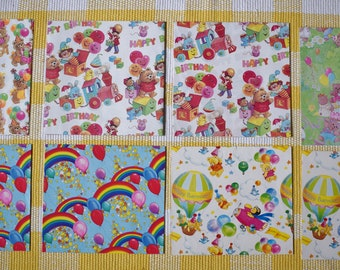 Vintage Gift Wrap / Vintage 1980s Birthday Wrapping Paper for Kids / Small Medium Boxes / Rainbow Teddy Bear Balloons Stars Wrapping Paper