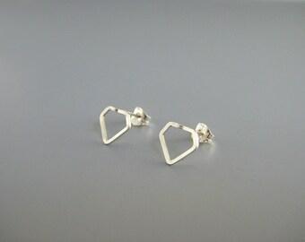 Sterling Silver Post Earrings - modern minimal diamond shape studs, dainty geometric, minimalist nickel free jewelry