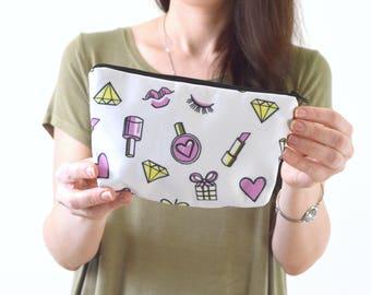 "Lipstick Heart Diamond Nail Polish Print Zippered Cosmetic Bag, Make-up Bag, Toiletry Bag, Pouch - 8"" x 5.5"""