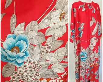 Vtg MCM Red White & Blue Floral Print Caftan, Red Mrs Roper Maxi Dress Muumuu, Polyester Cover Up, Floral Beach Tiki Party Maxi, XLarge