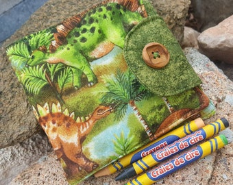 Dinosaur Crayon Wallet, Boy's Crayon Billfold, Crayon Holder, Crayon Roll, Kids Crayon Holder