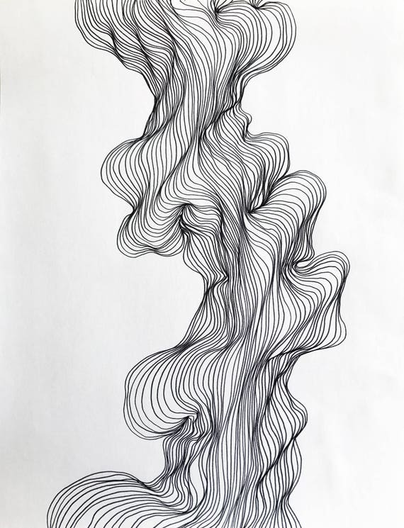 Abstract Line Art Design : Abstract line art black and white modern drawing organic