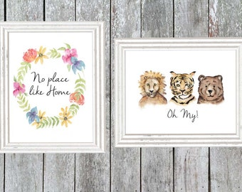 """Oz, wicked, Whimsical watercolor prints, """"no place like home"""" """"lions and tigers and bears oh my"""" lion tiger bear nursery art"""
