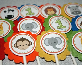 Jungle Faces Cupcake Toppers / Jungle Cupcake Toppers / Zoo Cupcake Toppers / Zoo Animal Toppers / Zoo Birthday Party / Jungle Birthday