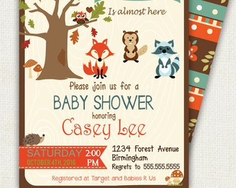 WOODLAND baby shower invitation, fox, raccoon and gopher shower  party, PRINTABLE INVITATION