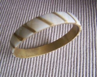 """Vintage 80's """"ABALONE SHELL INLAY """" Gold Stripe Art Deco Pattern Design"""