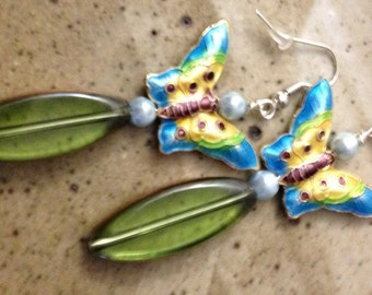 Blue enamel butterfly, fresh water pearls, and green glass earrings, bohemian earrings