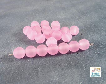 30 beads, matte pink acrylic, 7mm (ps78)