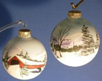 Hand Painted Glass Christmas Ornament Covered Bridge Snowy Winter Landscape
